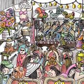 Mein Abschlussprojekt :  Partytime. Un proyecto de Ilustración, Bellas Artes, Dibujo, Dibujo artístico, Sketchbook e Ilustración con tinta de Jutta Kohlbeck - 08.02.2021