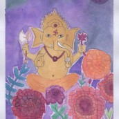Ganesh with Flowers: My project in Creation of Color Palettes with Watercolor course. A Watercolor Painting project by Claudia Aurednik - 12.26.2020
