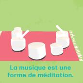 La musique est une forme de meditation by Erica Cardenas. A Advertising, 2D Animation, Digital illustration, Brush painting, and Editorial Illustration project by Erica Cardenas - 02.13.2021