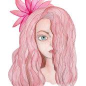 Chica pelo rosa: Retrato ilustrado en acuarela curso de Ana Santos. Um projeto de Ilustração de retrato de Ivania Maturana - 20.09.2020