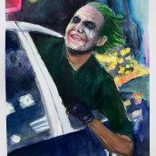 Mi Proyecto del curso: Ilustración con acuarela: recrea tus escenas más icónicas. Joker. Um projeto de Ilustração, Artes plásticas, Desenho e Pintura em aquarela de Pablo Silva - 01.03.2021