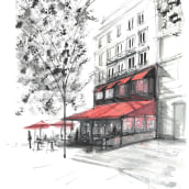 Sketch 1 - Street cafe in Paris. A Architectural illustration project by Andrew Hoare - 03.04.2021