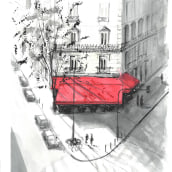 Sketch 2 - Street cafe in Paris. A Architectural illustration project by Andrew Hoare - 03.04.2021