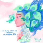 Unica e Infinita. A Illustration, Character Design, and Digital illustration project by Liz Yelud Adra - 03.10.2021