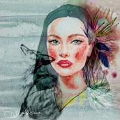 Mon projet du cours : Portrait illustré à l'aquarelle. Un proyecto de Pintura a la acuarela, Dibujo de Retrato, Dibujo realista y Dibujo digital de Florence Salvati - 16.03.2021