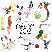 Calendario 2021 Colibríes. Un projet de Aquarelle et Illustration naturaliste de Juana Patiño Zabala - 17.03.2021