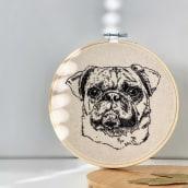 Nacho the Pug - Embroidered Portrait. A H, werk, Kreativität, Porträtillustration, Stickerei, Porträtzeichnung, Realistische Zeichnung und Crochet project by Gerardo Hinojosa - 09.02.2021