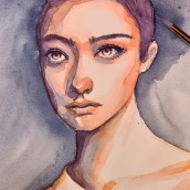 Mon projet du cours : Portrait artistique à l'aquarelle. Un proyecto de Pintura a la acuarela de Florence Salvati - 20.03.2021