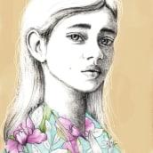 Mi Proyecto del curso: Retrato con lápiz, técnicas de color y Photoshop. Un proyecto de Ilustración, Dibujo a lápiz, Pintura a la acuarela y Dibujo de Retrato de Karla Medina - 04.04.2021