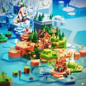Lowpoly 3D world. Un proyecto de Ilustración, Concept Art y Diseño 3D de Santiago Moriv - 05.04.2021