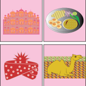 4 Icons to depict what I encountered on my first day during my trip to Jaipur, Rajasthan. Un proyecto de Ilustración, Diseño gráfico, Diseño de logotipos, Ilustración digital, Diseño digital y Dibujo digital de Piyali Das - 10.04.2021