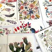 Postcards. Un progetto di Illustrazione, Pittura ad acquerello e Illustrazione botanica di Inga Buividavice - 21.04.2021