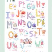 Children's alphabet . Un proyecto de Ilustración, Diseño de personajes, Caligrafía, Ilustración digital, Dibujo artístico, Ilustración infantil, Humor gráfico, Art to y Creatividad con niños de Alina Zimina - 24.04.2020
