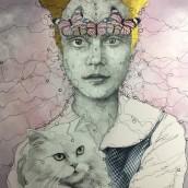 Niña filigrana con gato. Un proyecto de Ilustración de retrato de Gema Alvaro - 24.04.2021