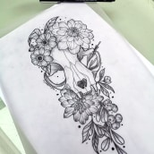 Botanical tattoo with pointillism tattoo design. A Illustration, Tattoo Design, and Botanical illustration project by Mentiradeloro Esther Cuesta - 04.24.2021