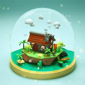 The Three Little Pigs Houses. Un proyecto de Diseño, Ilustración y 3D de Dan Cristian - 23.04.2021