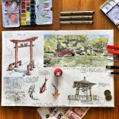 Cuaderno de viaje en acuarela: Jardín Japonés, Buenos Aires, Argentina.. A Architecture, Drawing, Watercolor Painting, and Architectural illustration project by Cristián Muñoz Viveros - 04.27.2021