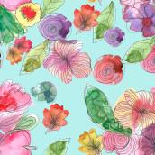 Meu projeto do curso: Criação de patterns em aquarela. Um projeto de Pattern Design e Pintura em aquarela de Alessandra Bellard - 01.05.2021