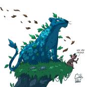 The leaf jaguar and his little friend, the spy of the jungle. Un proyecto de Diseño de personajes, Diseño gráfico, Cómic, Animación 2D, Ilustración digital, Stor, telling, Dibujo digital e Ilustración editorial de Pedro Garcia Bru - 04.05.2021