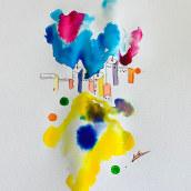 Mi Proyecto del curso: Paisajes urbanos en acuarela. Un proyecto de Bellas Artes, Pintura a la acuarela e Ilustración arquitectónica de Silvana Hernandez - 14.05.2020