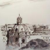 Rome, ink and watercolor painting. Un projet de Beaux Arts, Pa, sagisme , et Peinture de Ekaterina Chistiakova - 18.05.2021