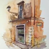 Rome, city corner, ink and watercolor painting. Un projet de Architecture, Beaux Arts, Pa, sagisme , et Peinture de Ekaterina Chistiakova - 18.05.2021