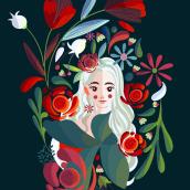 Mi Proyecto del curso: Retrato ilustrado con elementos botánicos. Um projeto de Ilustração, Ilustração digital, Ilustração de retrato, Ilustração botânica e Desenho digital de Jocelin Flores - 12.06.2021