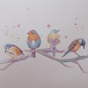 My project in Artistic Watercolor Techniques for Illustrating Birds course. Un proyecto de Ilustración, Pintura a la acuarela, Dibujo realista e Ilustración naturalista de Ана Янева - 31.05.2021