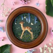 Fawn on Green. Un proyecto de Ilustración y Bordado de Chloe Giordano - 18.06.2021
