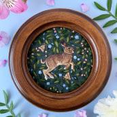 Hare on Green. Un proyecto de Ilustración y Bordado de Chloe Giordano - 18.06.2021