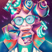 Elton John - Rocket Man - #CreateWithPride. Un progetto di Illustrazione, Lettering digitale , e Lettering 3D di Jimbo Bernaus - 24.06.2021