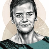 margrethe vestager. A Illustration, Pencil drawing, Portrait illustration, Portrait Drawing, Realistic drawing & Ink Illustration project by Paul Ryding - 09.30.2018