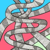 Doodle-Tangle-Snakes-Test. Un progetto di Illustrazione di Sylvia Haendschke - 02.07.2021