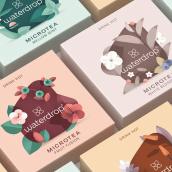 Microtea · Ilustraciones para marca de té.. Un progetto di Illustrazione, Design, Packaging, Br e ing e identità di marca di David Comerón - 05.07.2021
