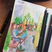 Mein Kursprojekt: A moment of joy. A Illustration, Skizzenentwurf, Kreativität, Zeichnung, Aquarellmalerei, Sketchbook und Gouachemalerei project by Anica W. - 08.07.2021
