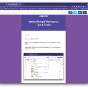 Weekly Google Workspace Tips & Tricks. Un projet de Éducation , et Marketing de Chanel Greco - 09.07.2021