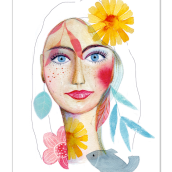 Mein Kursprojekt: Illustriertes Porträt mit Aquarell. A Illustration, Fine Art, Painting, Drawing, Watercolor Painting, Portrait illustration, Portrait Drawing, and Artistic drawing project by anemona - 07.18.2021