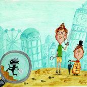 DISEÑO DE PERSONAJES, Sherlock y Watson. Un proyecto de Ilustración, Diseño de personajes, Bellas Artes, Dibujo, Dibujo artístico y Humor gráfico de SEÑORITA BICHO - 22.07.2021
