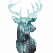 Double Exposure Aquarell Tiere. Um projeto de Ilustração, Artes plásticas, Pintura, Criatividade, Desenho, Pintura em aquarela, Desenho realista, Desenho artístico, Instagram, Ilustração botânica, Teoria da cor, Ilustração naturalista e Pintura guache de Jessica Janik - 29.07.2021