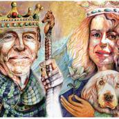 Mis padres los reyes celestiales . retratos en boligrafo. A Drawing, Portrait illustration, Portrait Drawing, Realistic drawing, and Artistic drawing project by Liliana Quintero - 08.12.2021