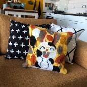 My project in Punch Needle XL Embroidery course. Un proyecto de Bordado, Ilustración textil, Decoración de interiores y Punch needle de Linda van den Heuvel - 13.08.2021