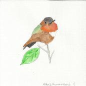 Series of gouache paintings of hummingbirds. Um projeto de Pintura de Kendall Stewart - 07.09.2021