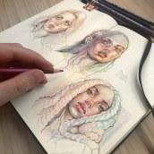 Characters painted with coloured pencils. Um projeto de Desenho de Retrato, Sketchbook e Design de personagens de Gabriela Niko - 08.09.2021