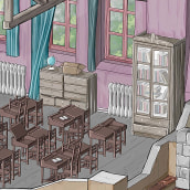 Ye Old Classroom. A 3d modeling, Digital illustration, and Architectural illustration project by Alejandro Soriano - 09.10.2021