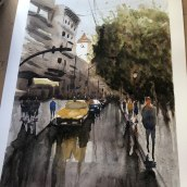 Mi Proyecto del curso: Paisajes urbanos en acuarela. A Watercolor Painting, Fine Art, and Architectural illustration project by Anabel Carrasco - 09.18.2021