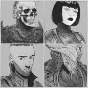 Sketchbook - 3/4 Portraits. Um projeto de Ilustração de Elola illustrator - 27.09.2021