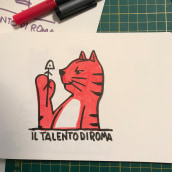 """Il Talento di Roma - A logo with a sort of mascotte for a webmagazine (fb, Instagram and website) about Rome. The cat is a sort of feline version of the iconic New Yorker character, with some sort of """"sprezzatura"""" that makes him a natural snob. ;). A Design, Illustration, Character Design, Graphic Design, Logo Design, and Digital illustration project by Gianluca Manna - 10.06.2021"""