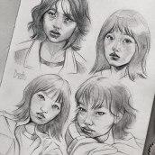 """""""Squid game"""" Fanart Portraits - Sketchbook Pages. Um projeto de Desenho a lápis, Sketchbook e Desenho de Retrato de Gabriela Niko - 07.10.2021"""