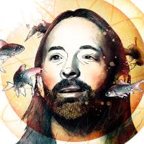 """Thom Yorke, retrato para mi curso """"Retrato ilustrado con Photoshop"""". Um projeto de Design e Ilustração de Oscar Giménez - 14.09.2016"""