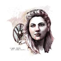 """Ladgerda, retrato para mi curso """"Retrato ilustrado con Photoshop"""". A Illustration project by Germán Santero Moreno - 01.10.2016"""
